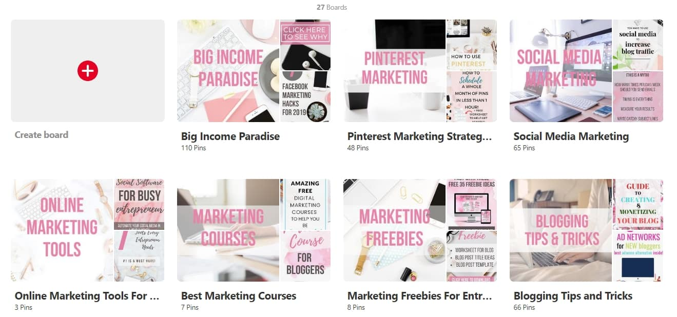 Pinterest Boards from Big Income Paradise