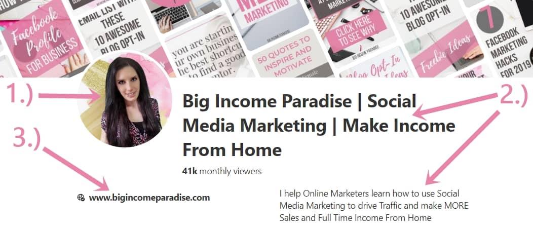 Big Income Paradise Pinterest Profile