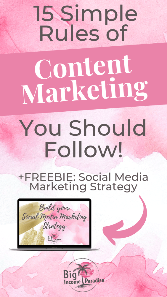 Content Marketing is really important in online business. If your content isn't good, no one is going to read it. That means you will see a big decrease in traffic, leads, and sales. But you want to become a successful entrepreneur, right? Then you have to follow these 15 simple rules for successful content marketing. Check them out here and repin this. #BigIncomeParadise #contentmarketing #contentmarketingstrategy #contentmarketingstrategies #contentmarketingrules #socialmediacontent
