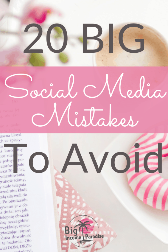 If you're struggling to make money online in your business, then you might be making some of these Social Media mistakes. I see many solopreneurs do them every day and they continue to struggle. Here are 20 BIG Social Media mistakes you should avoid at all cost. Check them out, grab the FREEBIES inside and Re-Pin this for later. #bigincomeparadise #socialmediamarketing #socialmediamarketingstrategy #socialmediamarketingstrategies #socialmediamistakes