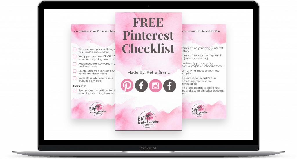 FREE Pinterest Checklist - Big Income Paradise