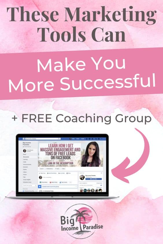 It's not a secret anymore that all successful entrepreneurs are using marketing tools. It's because they want to save time and spend it with their loved ones. No one likes to be a slave to social media marketing. That's why you should use these marketing tools for small business and see how much they will change your life. Check them out here, repin this and join our Free coaching group. #BigIncomeParadise #marketingtools #marketingtoolsforsmallbusiness #successfulentrepreneurs