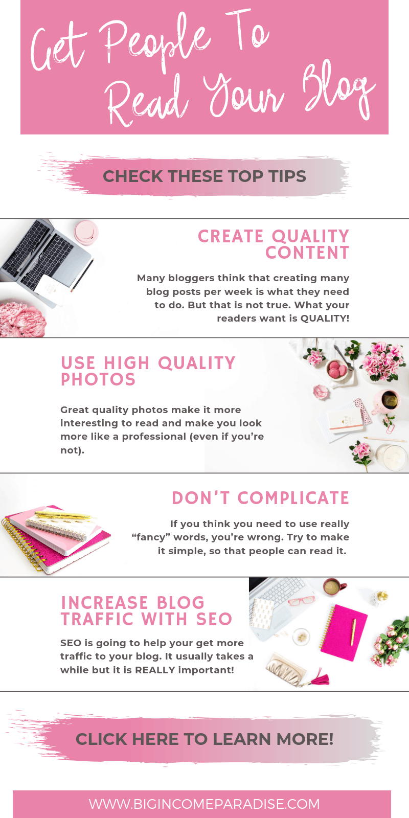 Are you wondering how to get blog readers? You are not alone but don't worry because my blog post will teach you. Get people to read your blog and also share it. Here is what you have to do to get traffic to your blog. #bigincomeparadise #blogtraffic #blogreaders #bloggingtips #blogging #connectingwithreaders #blogreaders #growyourblog #blogtips