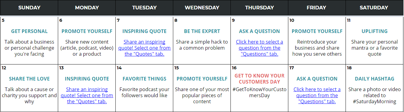 Social media content calendar from Angie Gensler
