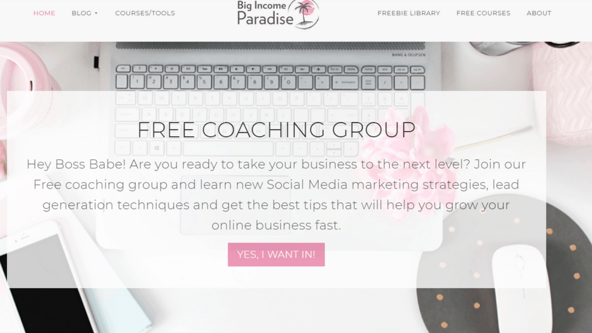 Big Income Paradise Main Page Invitation to Free Facebook Coaching Group