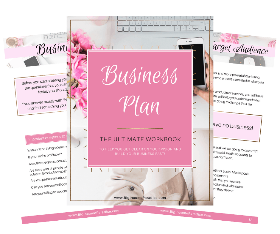 Business Plan Workbook - Big Income Paradise Product
