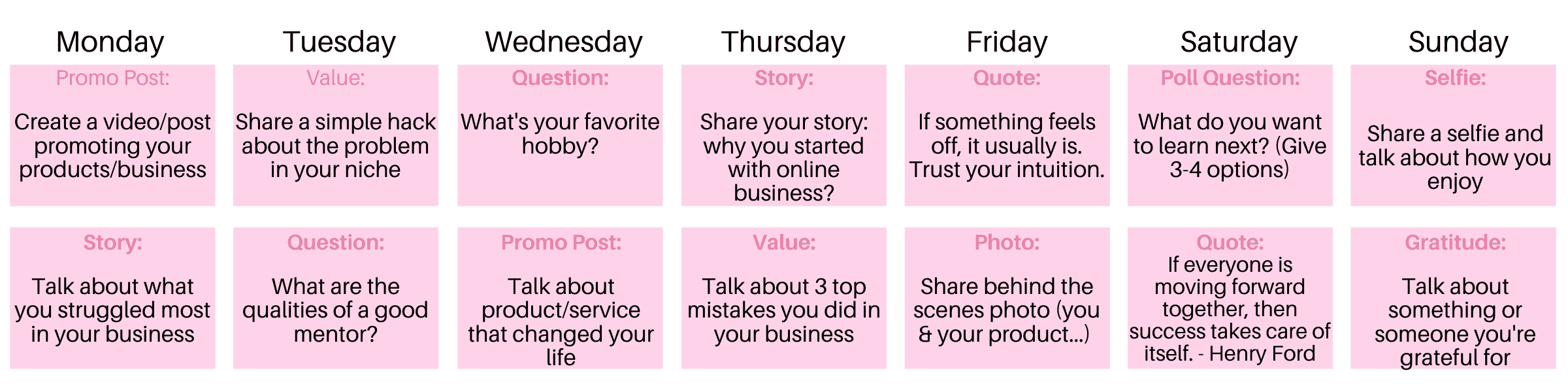 two-week example of the social media content calendar