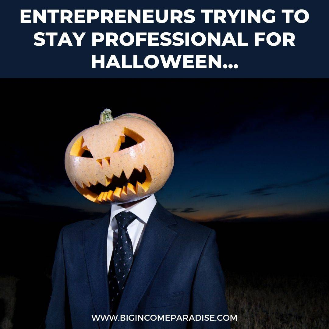 entrepreneurs trying to stay professional for halloween