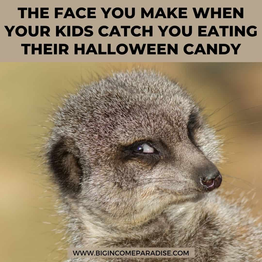 the face you make when your kids catch you eating their halloween candy