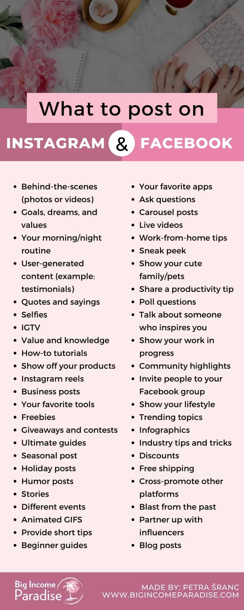 What to post on Instagram and Facebook