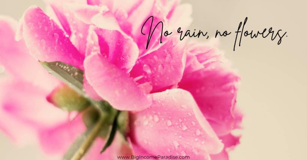 Rain Captions - No rain, no flowers.